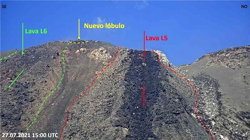 Nevados de Chillan - lava flows on 07/27/2021 - flow limits in red / L5 and in green / L6 - new lobe between the two active lava flows - Doc. Sernageomin - one click to enlarge