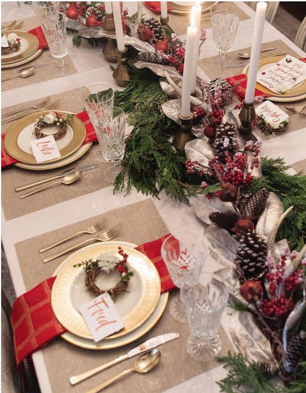Faire une belle table de Noël, rouge