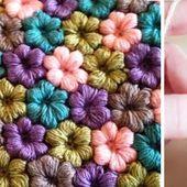 How to easily crochet ravishing puff flowers (video tutorial & diagram)