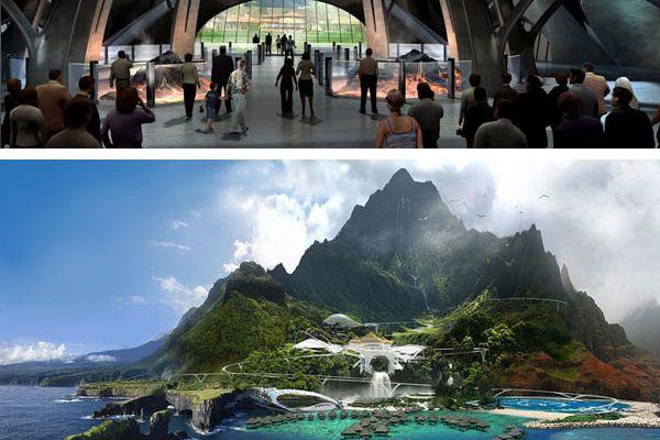 Jurassic World : concept art de l'intérieur du parc