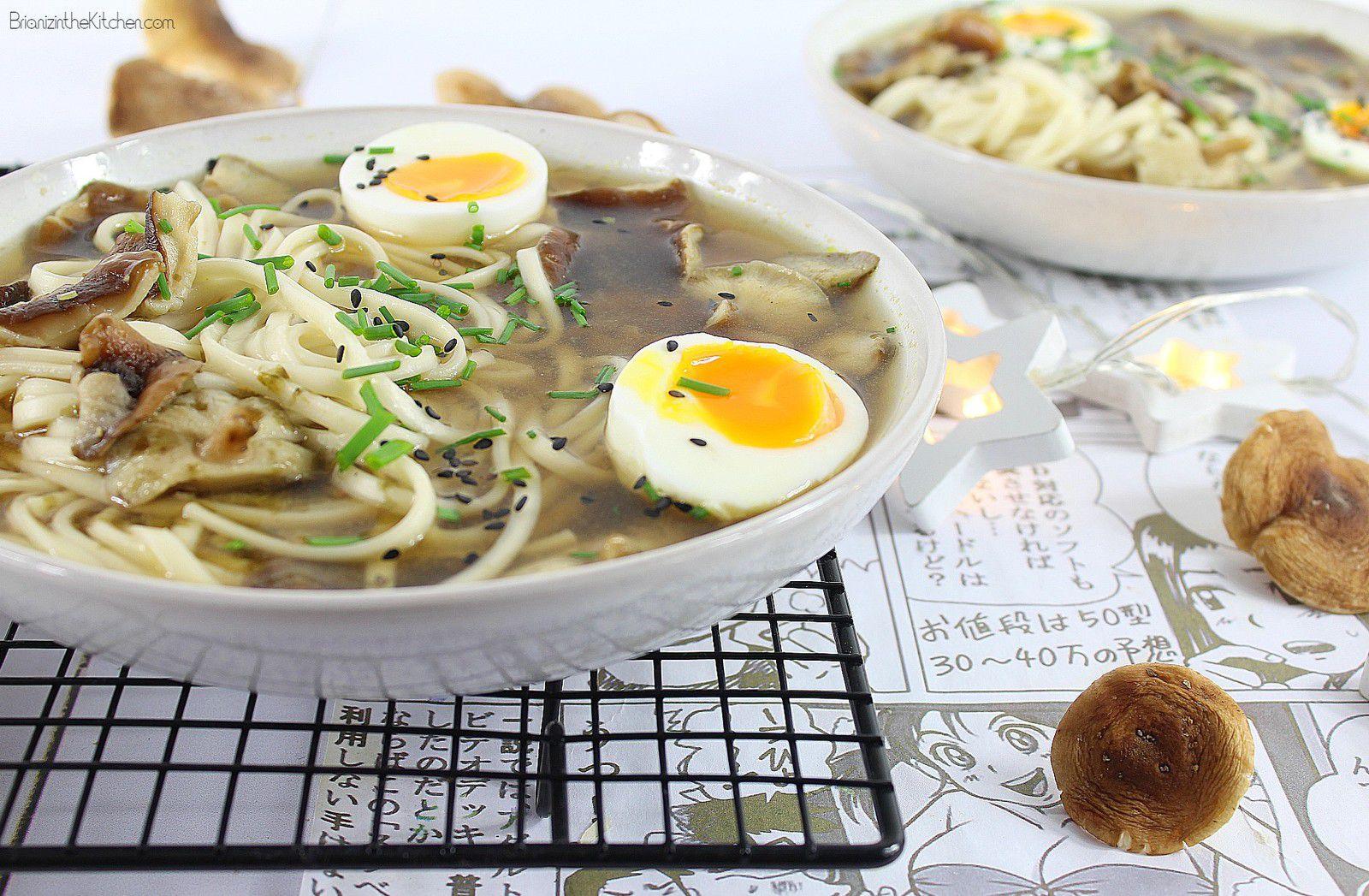 Soupe Miso Nouilles, Shiitake et Œuf Mollet