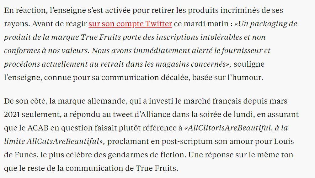 """Dans les médias (260) : Libération : Dans le jus, Monoprix retire des bouteilles de smoothie avec le slogan anti-police """"ACAB"""""""