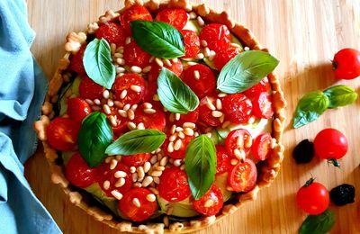 Tarte au pesto, courgettes et tomates cerises