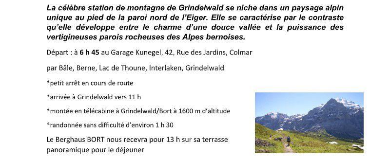 Sortie Seniors en Suisse à Grindelwald, le mercredi 21 juillet prochain.