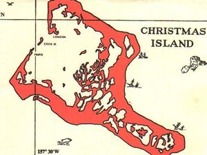 Navy Map of Christmas Island, to the left - compare with the land surface on the card to the right a click to enlarge .