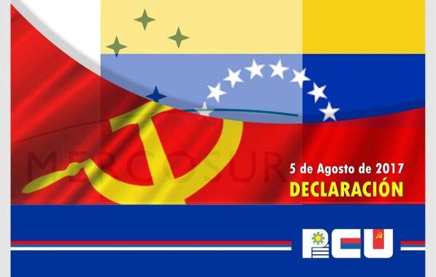 Déclaration du Parti Communiste de l'Uruguay à propos de la résolution du Mercosur sur le Venezuela