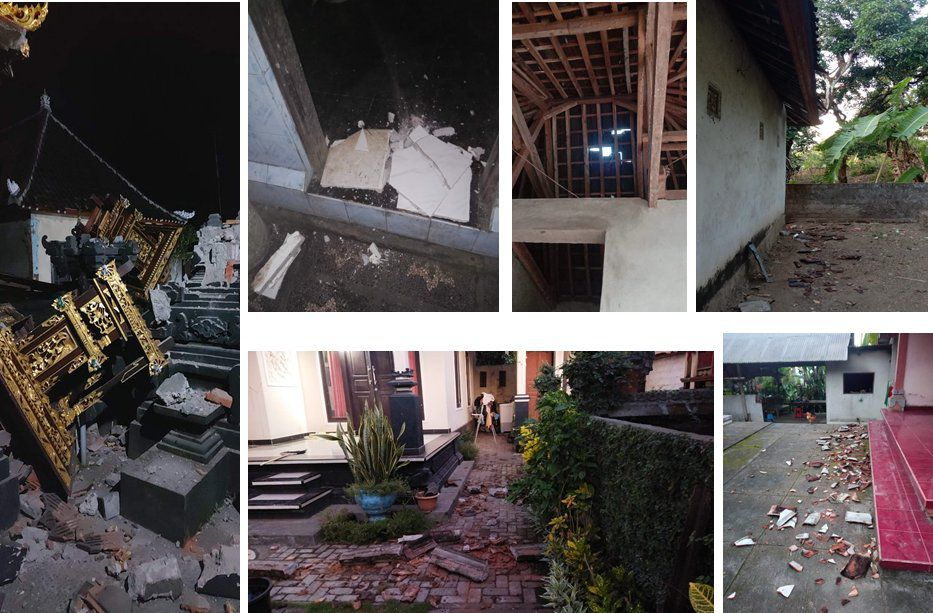 Bali / NW of Agung - Damage after the M4.8 earthquake on October 16, 2021 - BMKG photos