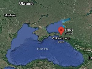 Shugo mud volcano - sat. Maxar tech. and location NE of the Black Sea - one click to enlarge