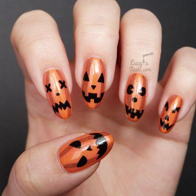 Halloween Glow-in-the-dark Pumpkin Face Nail Art + TUTORIAL