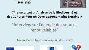 Interview sur l'énergie des sources renouvelables