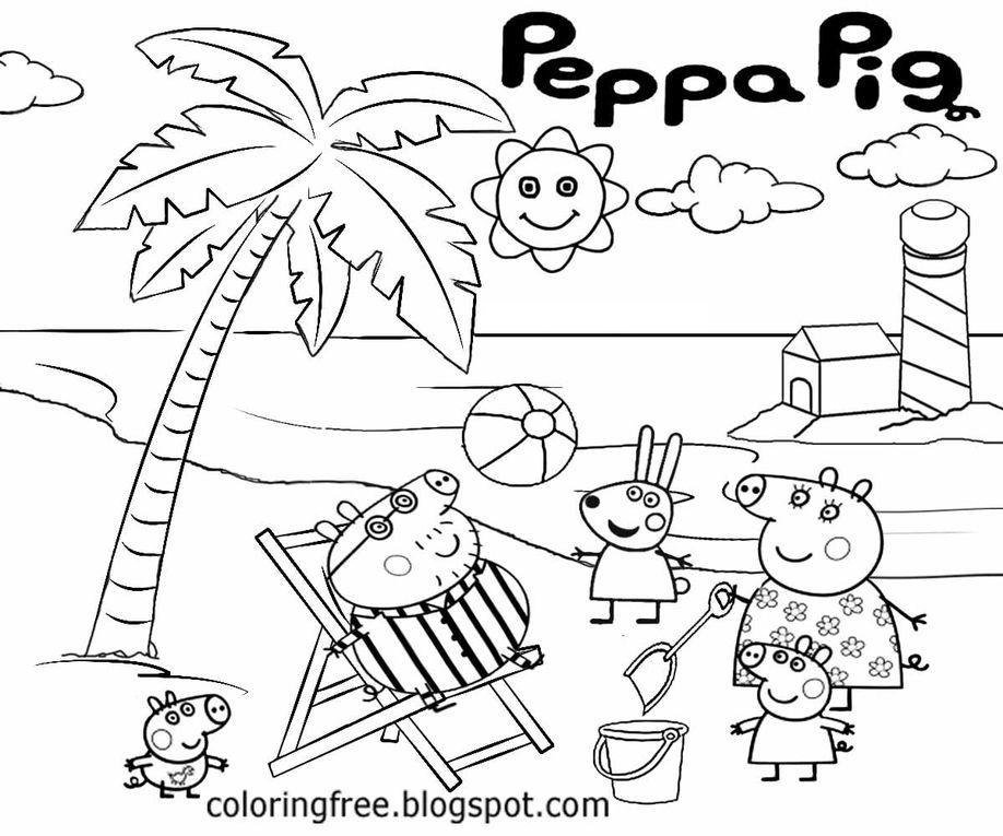 Peppa et Georges à la plage jouent dans le sable, La famille Pig à la plage, Peppa Georges et Rebecca donnent à manger aux poules, la famille Pig à la plage, Famille Pig en voiture, Peppa et Georges jouent, Famille Pig dans l'avion, Famille Pig mange une glace, Peppa et Georges font un château de sable, famille Pig pique-nique