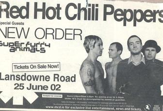 Ticket concert New Order 2002