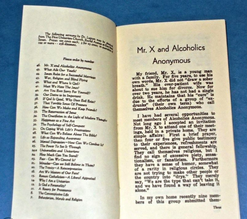 """""""Mr X and Alcoholics Anonymous"""""""