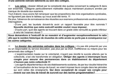 Tract intersyndical suite au Comité technique