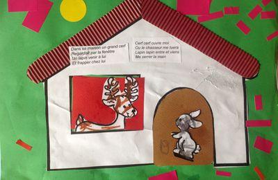 """Une comptine illustrée : """" Dans sa maison un grand cerf """""""