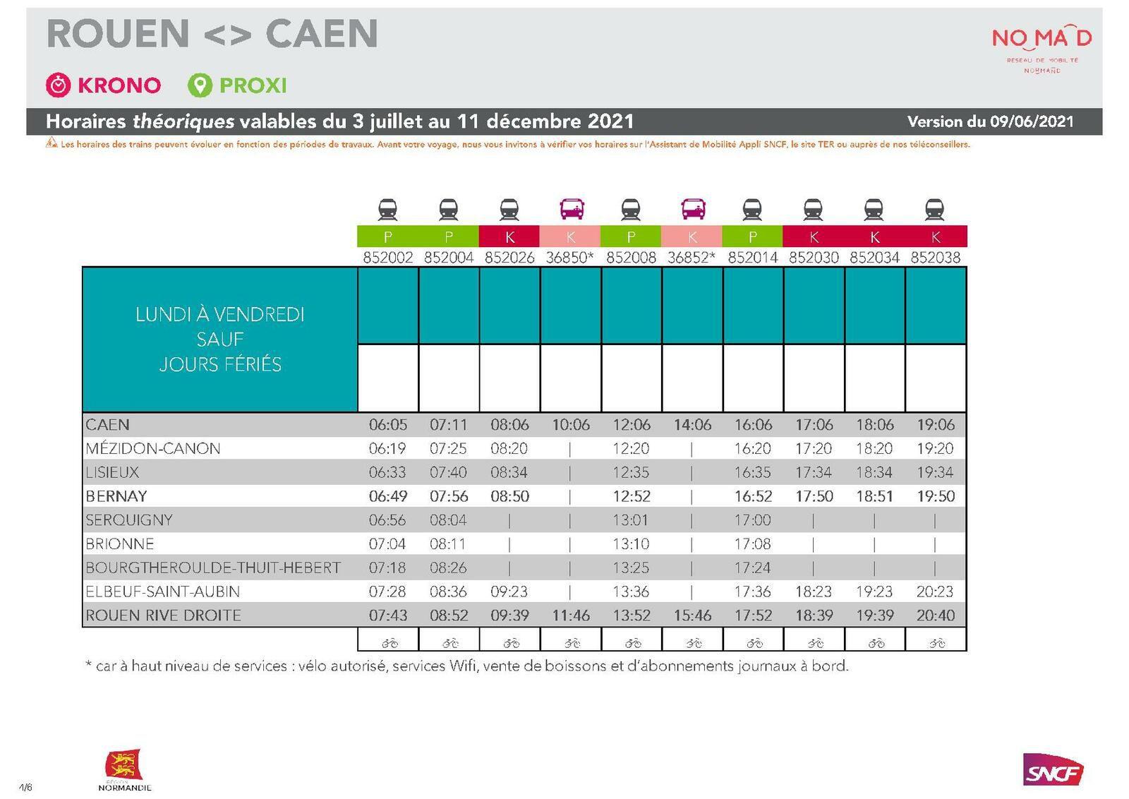 Caen > Rouen du 3 juillet au 11 décembre 2021 - version du 10 juin 2021