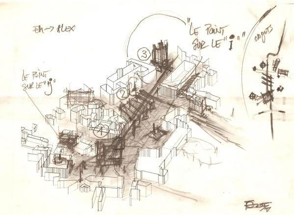 <p>Croquis du Concours de 1997</p> <p>AGENCE D'ARCHITECTURE GHIULAMILA ET ASSOCIES PARIS</p>