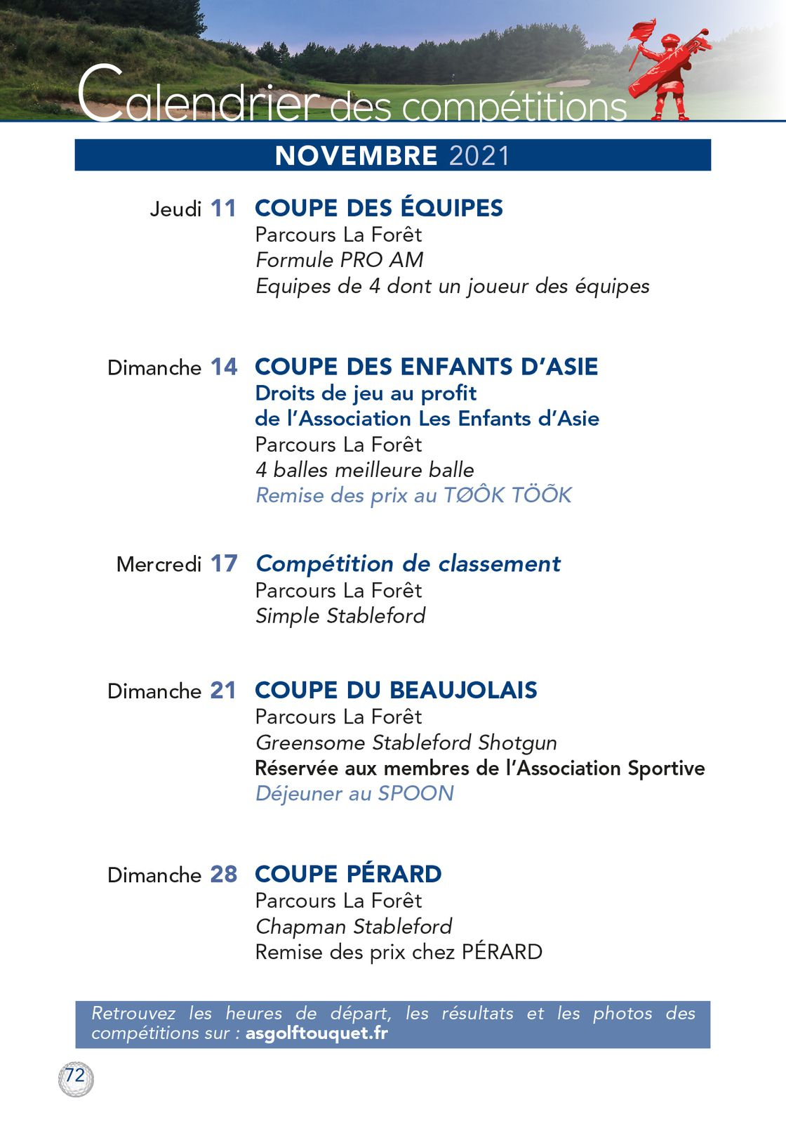 CALENDRIER DES COMPETITIONS