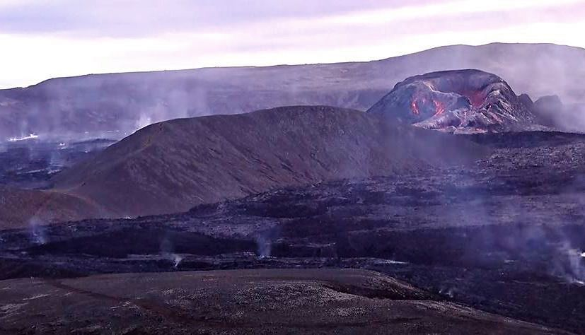 Fagradalsfjall - Silver reflections on the active cone and lava field this June 3, 2021 - Screenshot RUV live via Iceland Review