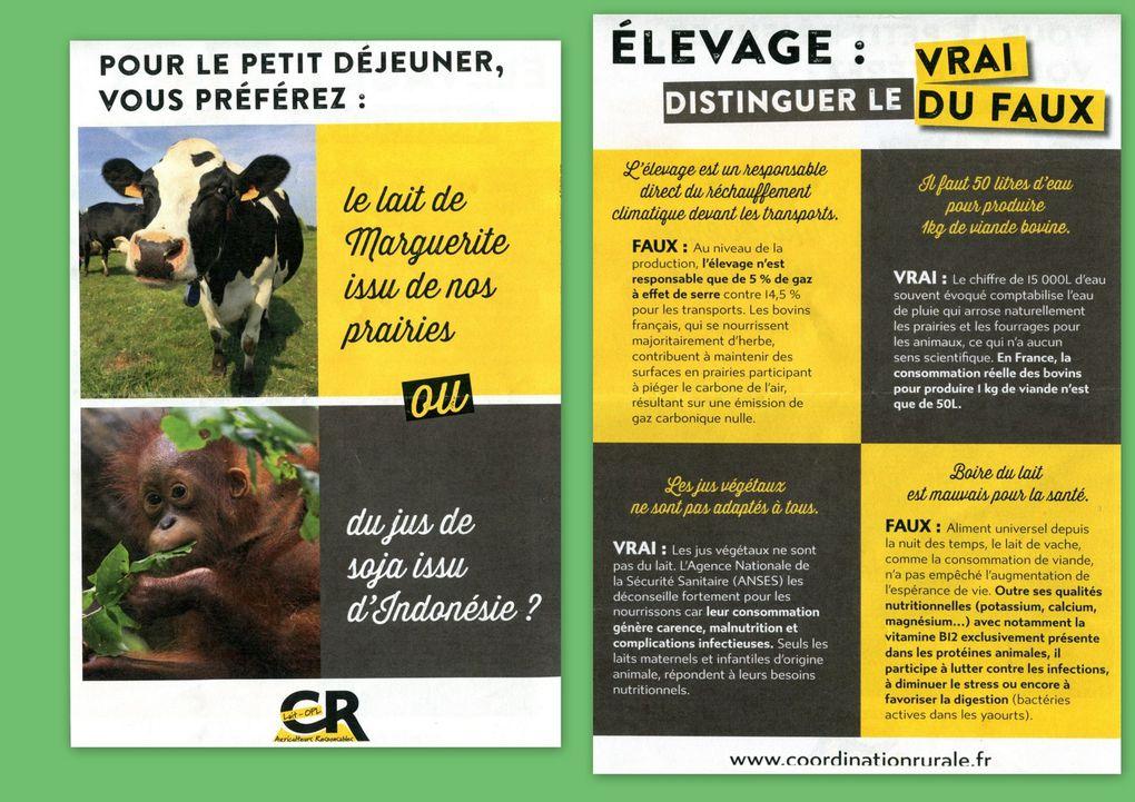 Le premier photographié par un autre média, Pascal Renaud, défend ses produits laitiers du terroir. Un second groupe veut protéger au maximum le monde animal... voir ne pas polluer son environnement, à savoir aussi ne pas s'en nourrir.