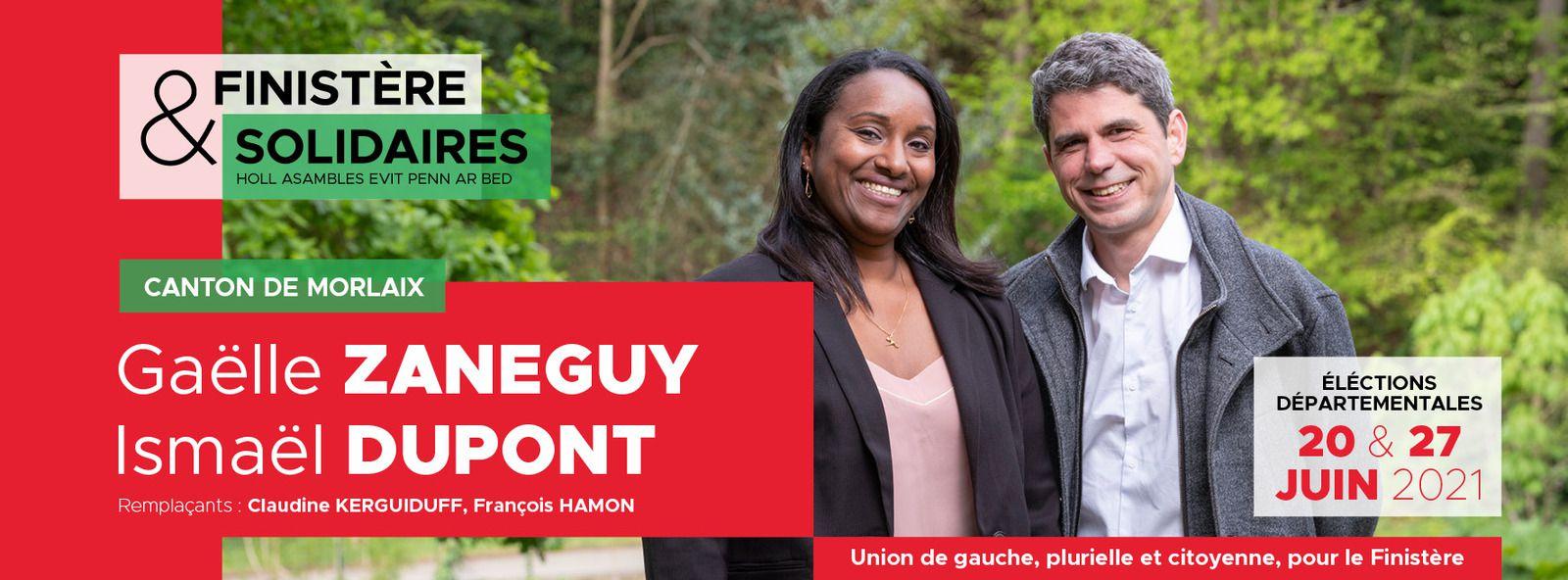 Départementales - Carnet de campagne de Gaëlle Zaneguy, Ismaël Dupont, Claudine Kerguiduff, François Hamon, Finistère & Solidaires