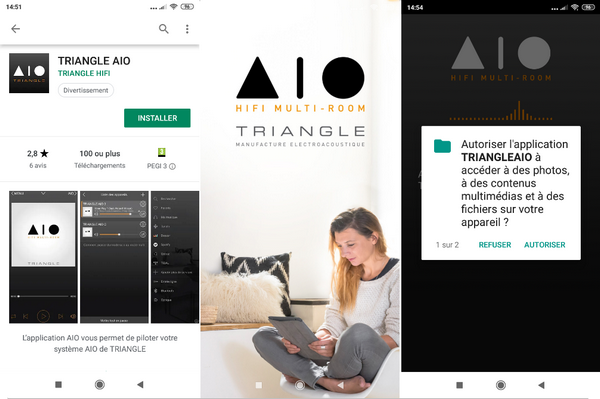 captures d'écran de l'application smartphone Triangle AIO multiroom @ Tests et Bons Plans