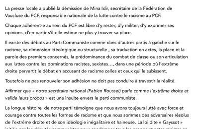 Démission de la secrétaire de la  Fédération de Vaucluse du PCF Communiqué du conseil départemental