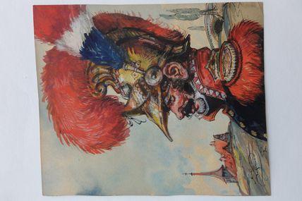 sapeur pompier alsacien , aquarelle de Léo Schnug