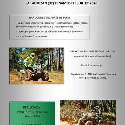 Rando quads et motos du comité des fêtes de Laujuzan (32), le samedi 25 juillet 2020