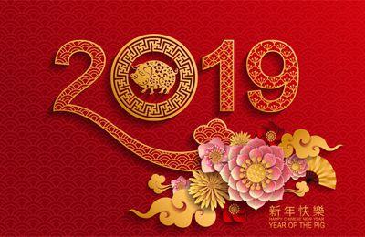Bonne année 2019 année du cochon à mes amis qui fêtent le nouvel an chinois!