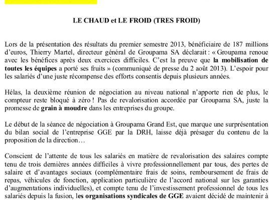 Négociations salaires à Groupama Grand Est - Le chaud, le froid et le très froid - Il n'y a pas de grain à moudre !! (3 pages)