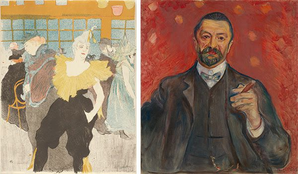 Henri de Toulouse-Lautrec, The Female Clown at the Moulin rouge (La clownesse au Moulin rouge), 1897, Van Gogh Museum, Amsterdam (Vincent van Gogh Foundation)  and Edvard Munch, Felix Auerbach, 1906, Van Gogh Museum, Amsterdam (purchased with support from the BankGiro Loterij, the Rembrandt Association, with the additional support of the Maljers-de Jongh Fund, and the Prins Bernhard Cultuurfonds, the VSB Foundation and the members of The Yellow House)