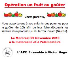 Opération un fruit au goûter 2016 !