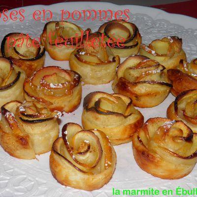 Roses en pommes et pâte feuilletée