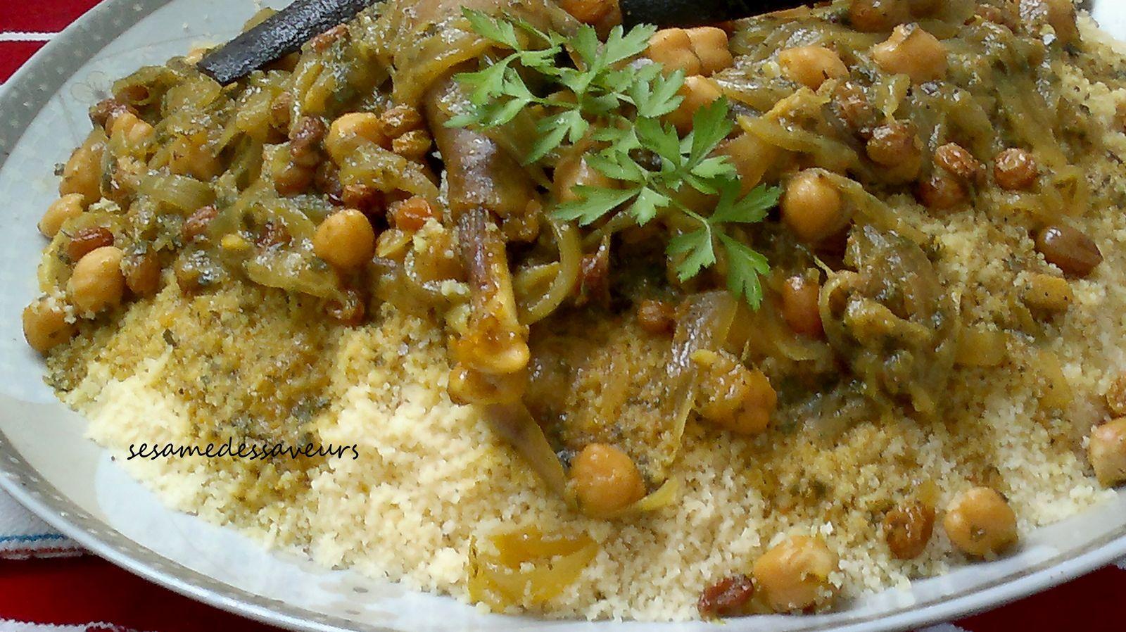 Couscous aux oignons et raisins secs