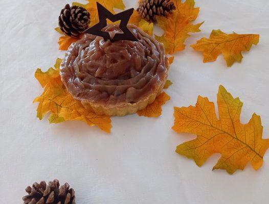 Tartelette crème de marron / meringue / myrtilles