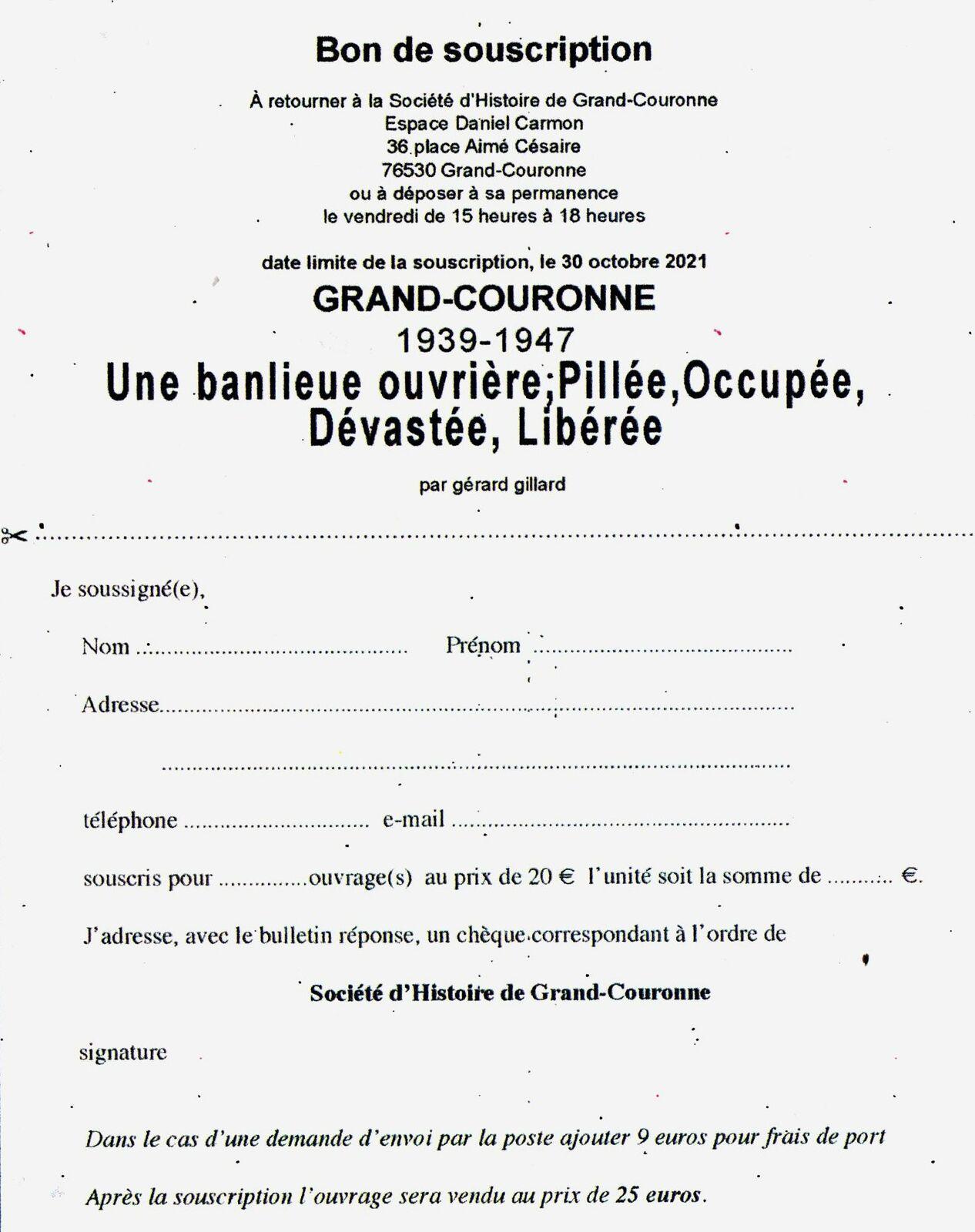 Troisième tome de l'histoire contemporaine de Grand-Couronne : 1939-1947 par Gérard Gillard