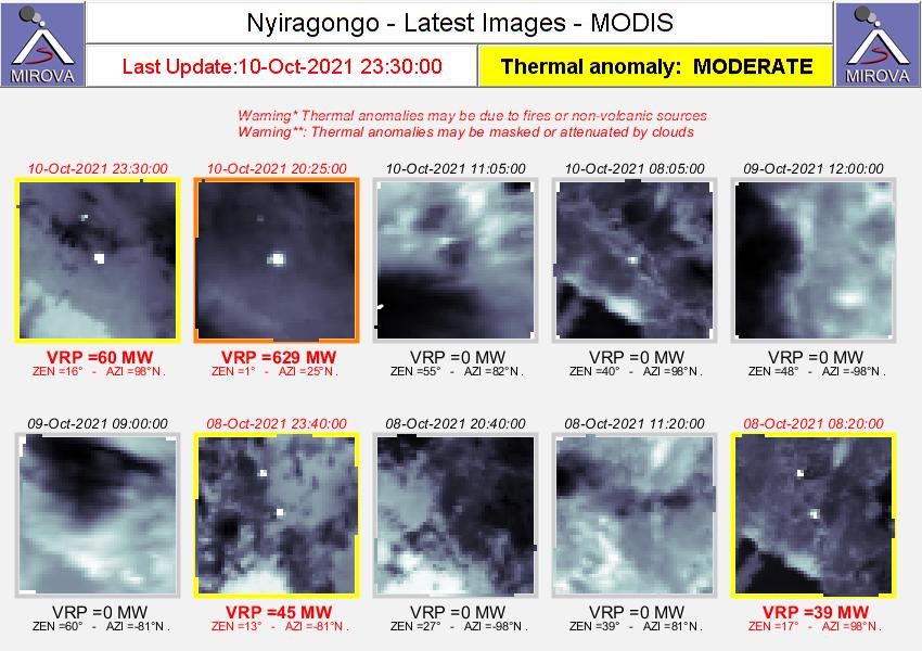 Nyiragongo- thermal anomalies at 10.10.2021 / 11:30 p.m. - Doc. _MODIS_Latest10NTI