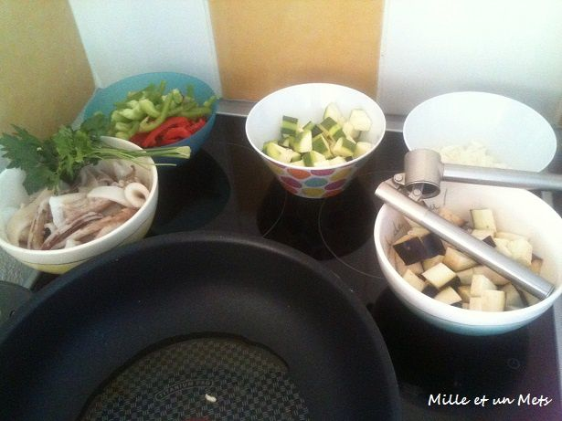 Calamars aux légumes Méditerranéens