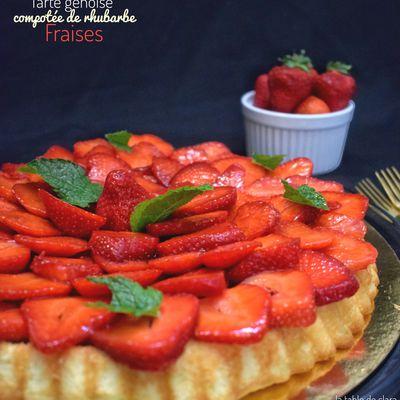 Tarte génoise compotée de rhubarbe et fraises