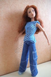 tuto gratuit barbie : tunique à pointes et ajourée