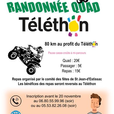 Rando Quad et SSV Téléthon du comité des fêtes de St Jean d'Estissac (24), le 30 novembre 2019