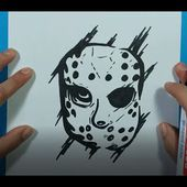Como dibujar a Jason Voorhees paso a paso -Viernes 13 | How to draw Jason Voorhees - Friday the 13th
