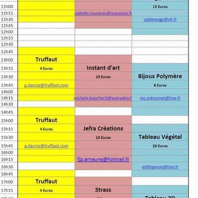 Planning des Ateliers 2010