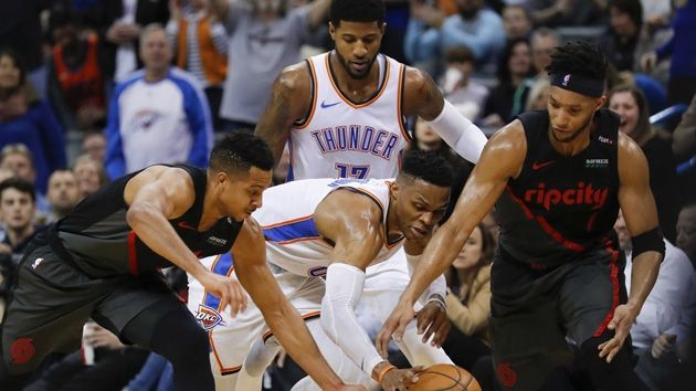 Paul George et Russell Westbrook trop forts pour les Blazers