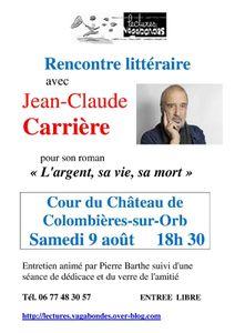 Rencontre avec Jean-Claude Carrière, samedi 9 août à 18h30, Château de Colombières sur Orb