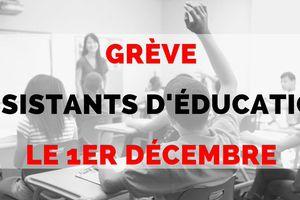 Plusieurs syndicats appelle les assistants d'éducation (AED, AP et APS) à se mettre en grève partout en France le mardi 1er décembre 2020.