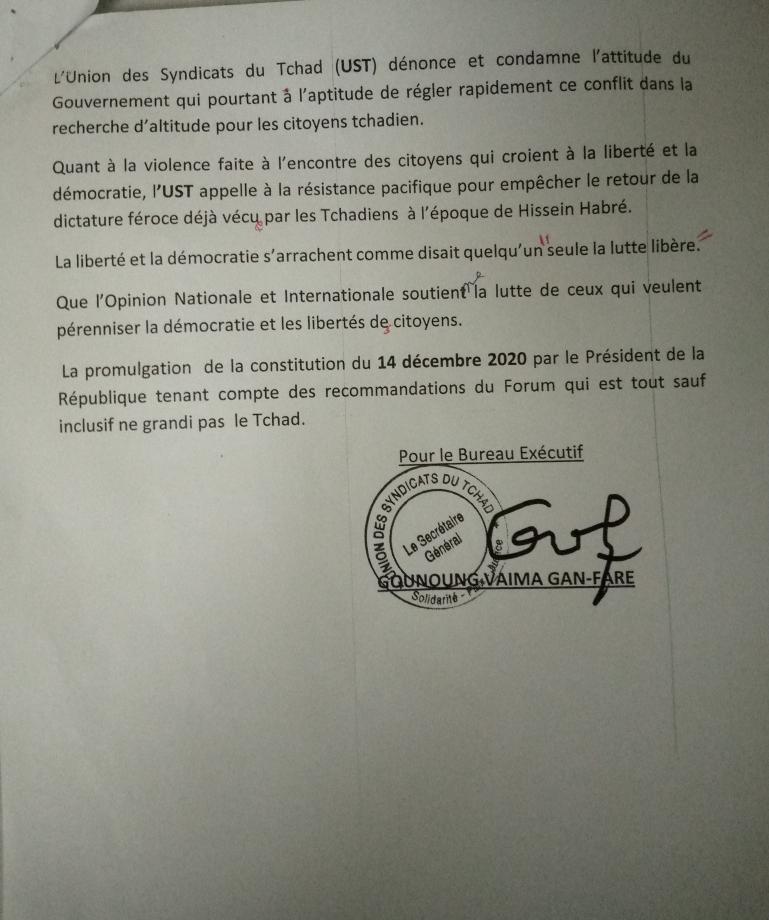 L'UST dénonce des atteintes graves aux libertés associatives au Tchad