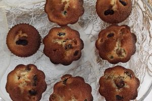 Financiers aux raisins secs et cranberries