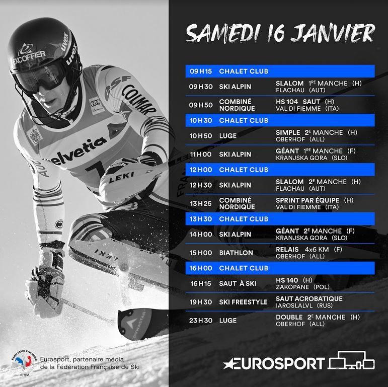 Slalom Messieurs de Flachau et le Géant Dames de Kranjska Gora samedi sur Eurosport !